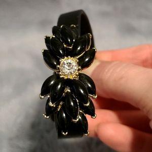 BaubleBar Jeweled Flower Leather Bracelet